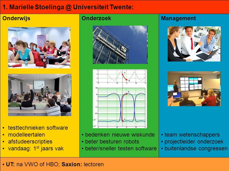 © ontwikkeld door Marielle Stoelinga Onderwijs testtechnieken software modelleertalen afstudeerscripties vandaag: 1 st jaars vak Onderzoek bedenken ni