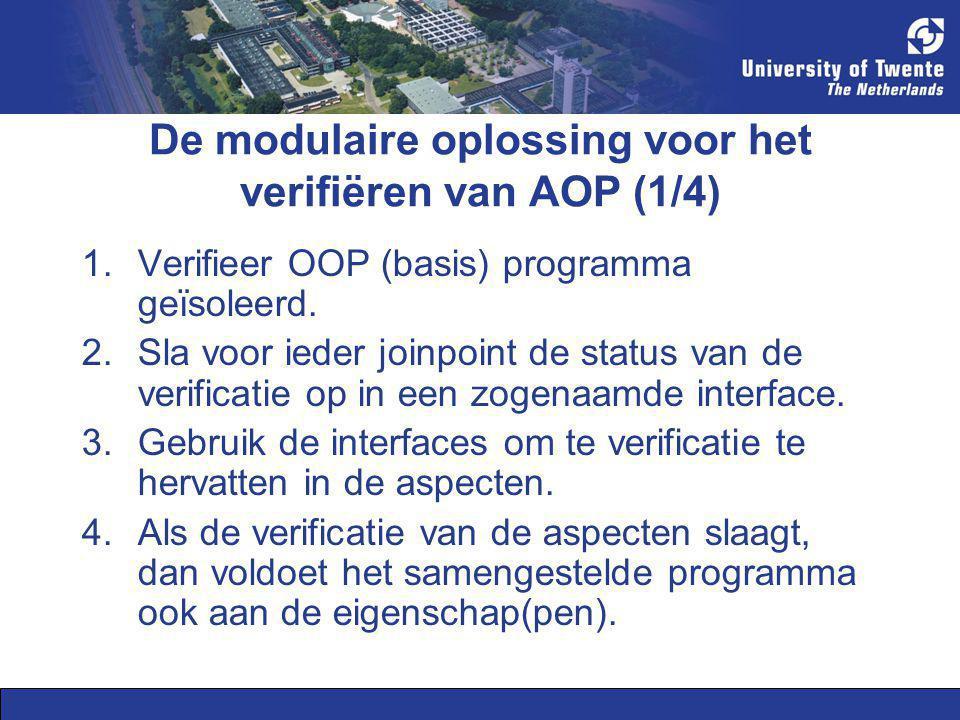 De modulaire oplossing voor het verifiëren van AOP (1/4) 1.Verifieer OOP (basis) programma geïsoleerd. 2.Sla voor ieder joinpoint de status van de ver