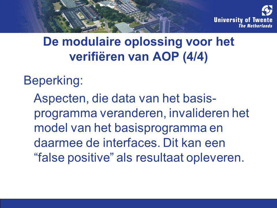De modulaire oplossing voor het verifiëren van AOP (4/4) Beperking: Aspecten, die data van het basis- programma veranderen, invalideren het model van