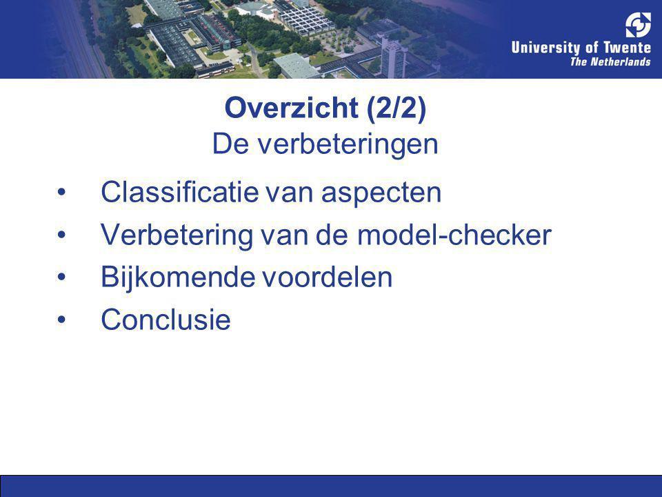 Overzicht (2/2) De verbeteringen Classificatie van aspecten Verbetering van de model-checker Bijkomende voordelen Conclusie
