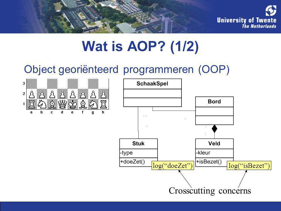 """Wat is AOP? (1/2) Object georiënteerd programmeren (OOP) log(""""doeZet"""")log(""""isBezet"""") Crosscutting concerns"""