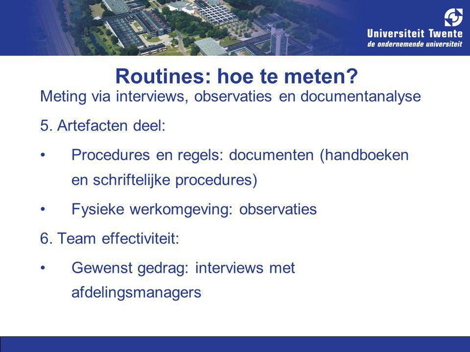 Routines: hoe te meten. Meting via interviews, observaties en documentanalyse 5.