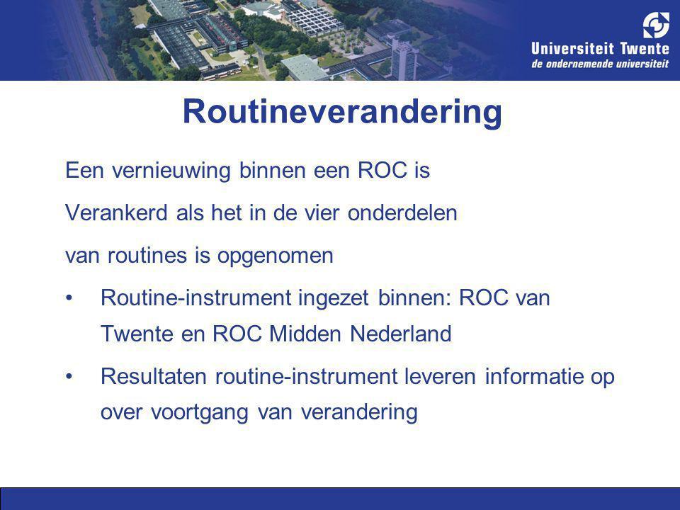 Routineverandering Een vernieuwing binnen een ROC is Verankerd als het in de vier onderdelen van routines is opgenomen Routine-instrument ingezet binn