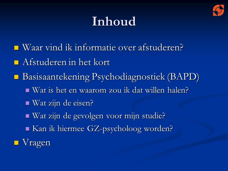 Informatie: www.psy.utwente.nl/afstudeerwebwww.psy.utwente.nl/afstudeerwebwww.psy.utwente.nl/afstudeerweb Stage- en afstudeercoördinator: Stage- en afstudeercoördinator: Sandra van Aalderen, Sandra van Aalderen, sandra.vanaalderen@utwente.nl of… of… zie contactgegevens afstudeerweb