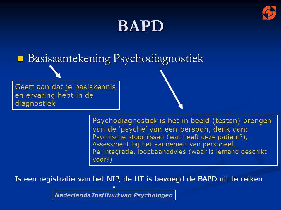 BAPD Basisaantekening Psychodiagnostiek Basisaantekening Psychodiagnostiek Geeft aan dat je basiskennis en ervaring hebt in de diagnostiek Psychodiagn