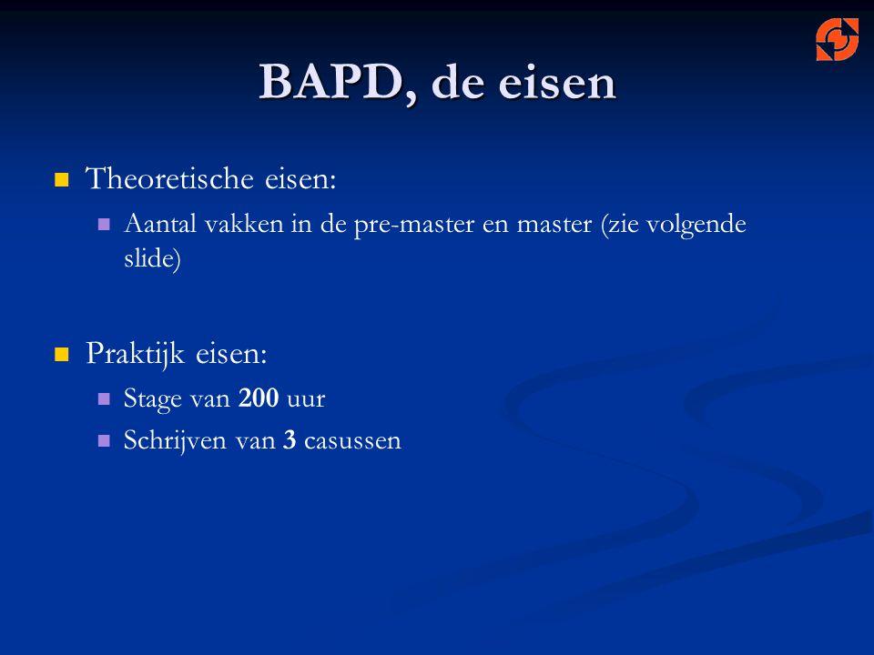 BAPD, de eisen Theoretische eisen: Aantal vakken in de pre-master en master (zie volgende slide) Praktijk eisen: Stage van 200 uur Schrijven van 3 cas