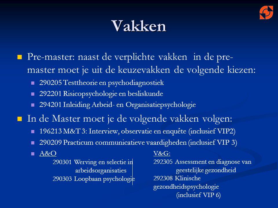 Vakken Pre-master: naast de verplichte vakken in de pre- master moet je uit de keuzevakken de volgende kiezen: 290205 Testtheorie en psychodiagnostiek