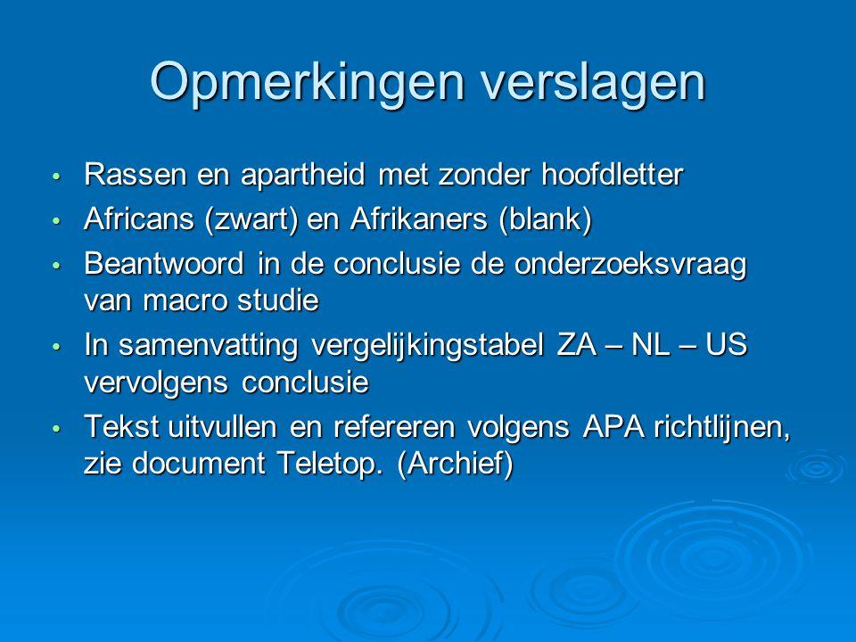 Opmerkingen verslagen Rassen en apartheid met zonder hoofdletter Rassen en apartheid met zonder hoofdletter Africans (zwart) en Afrikaners (blank) Africans (zwart) en Afrikaners (blank) Beantwoord in de conclusie de onderzoeksvraag van macro studie Beantwoord in de conclusie de onderzoeksvraag van macro studie In samenvatting vergelijkingstabel ZA – NL – US vervolgens conclusie In samenvatting vergelijkingstabel ZA – NL – US vervolgens conclusie Tekst uitvullen en refereren volgens APA richtlijnen, zie document Teletop.