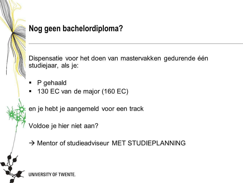 Nog geen bachelordiploma.