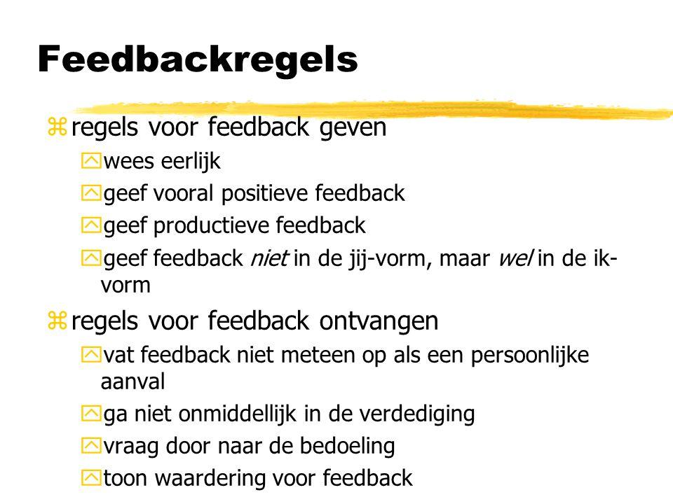 Feedbackregels zregels voor feedback geven ywees eerlijk ygeef vooral positieve feedback ygeef productieve feedback ygeef feedback niet in de jij-vorm, maar wel in de ik- vorm zregels voor feedback ontvangen yvat feedback niet meteen op als een persoonlijke aanval yga niet onmiddellijk in de verdediging yvraag door naar de bedoeling ytoon waardering voor feedback