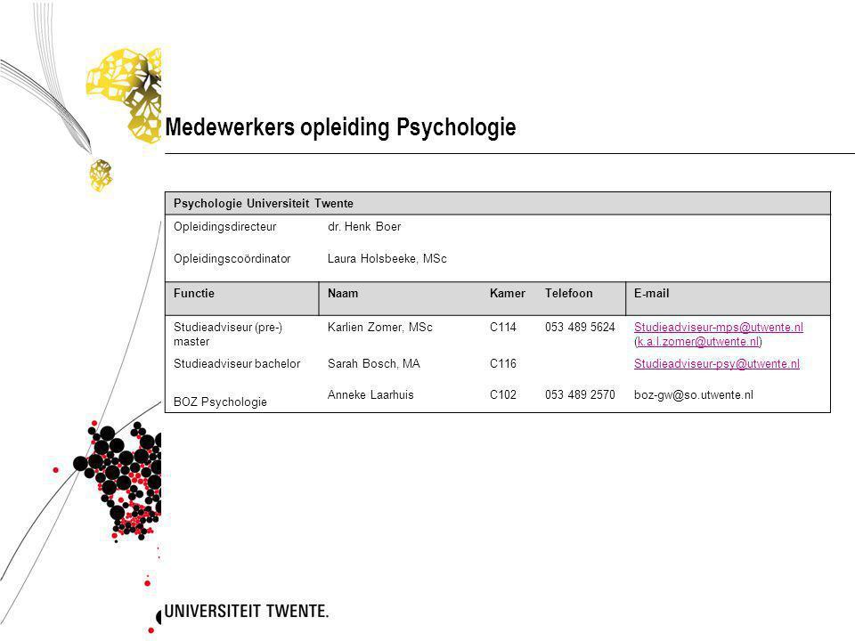 Medewerkers opleiding Psychologie Psychologie Universiteit Twente Opleidingsdirecteurdr.