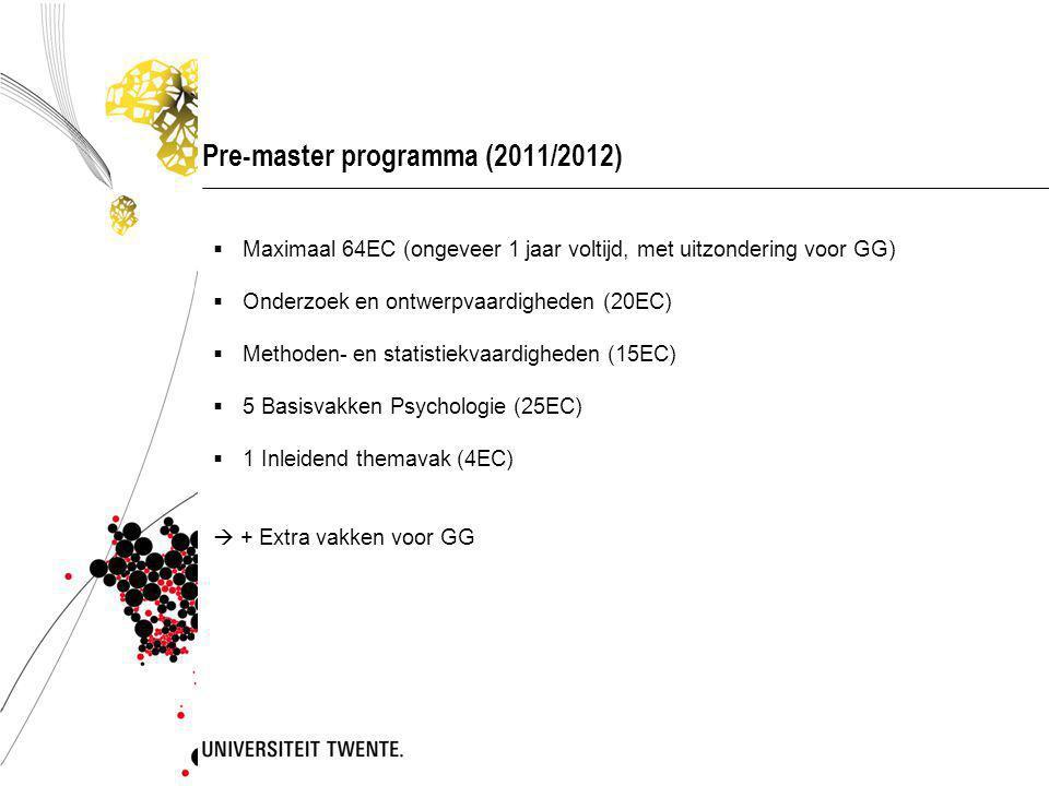 Studieprogramma pre-master, start september 2011