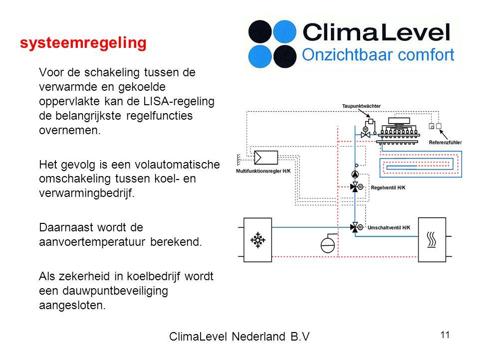 ClimaLevel Nederland B.V 11 Voor de schakeling tussen de verwarmde en gekoelde oppervlakte kan de LISA-regeling de belangrijkste regelfuncties overnemen.