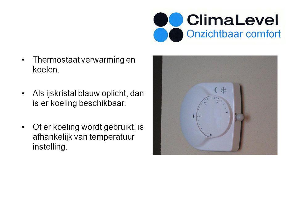 Thermostaat verwarming en koelen.Als ijskristal blauw oplicht, dan is er koeling beschikbaar.