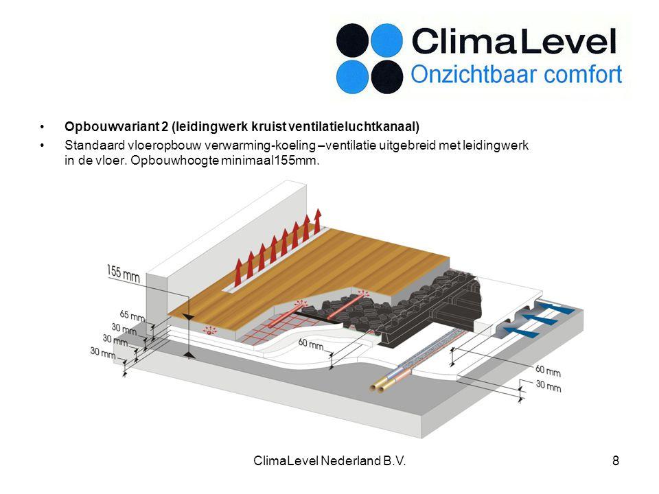 ClimaLevel Nederland B.V.8 Opbouwvariant 2 (leidingwerk kruist ventilatieluchtkanaal) Standaard vloeropbouw verwarming-koeling –ventilatie uitgebreid met leidingwerk in de vloer.