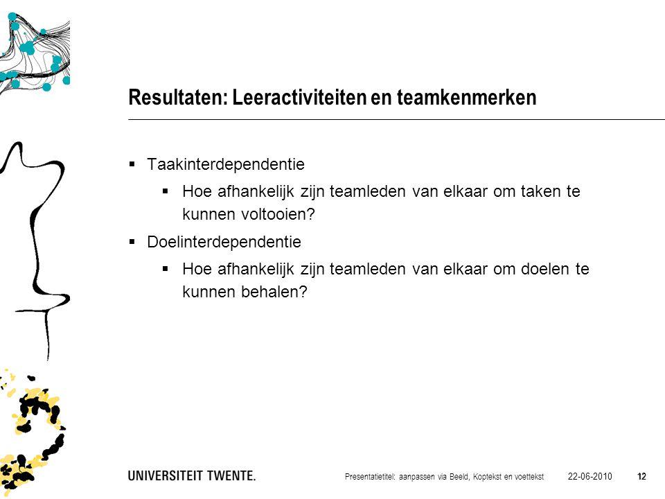 22-06-2010 12 Presentatietitel: aanpassen via Beeld, Koptekst en voettekst 12 Resultaten: Leeractiviteiten en teamkenmerken  Taakinterdependentie  H