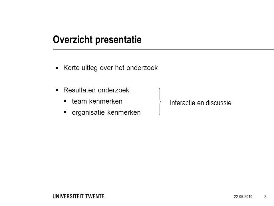 22-06-2010 2 Overzicht presentatie  Korte uitleg over het onderzoek  Resultaten onderzoek  team kenmerken  organisatie kenmerken Interactie en dis