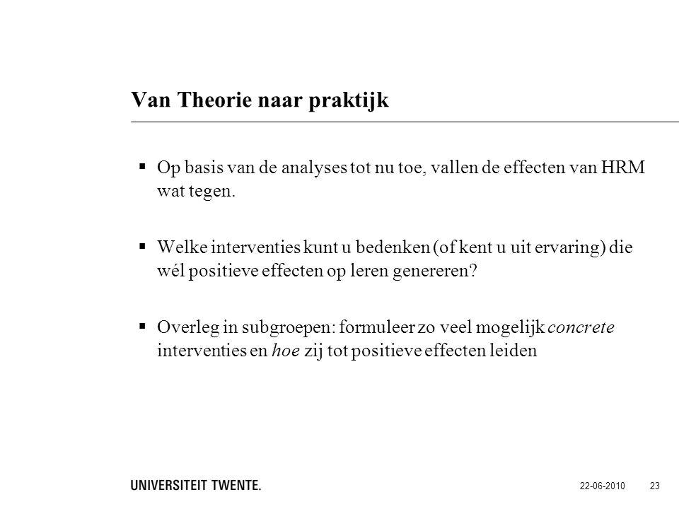 22-06-2010 23 Van Theorie naar praktijk  Op basis van de analyses tot nu toe, vallen de effecten van HRM wat tegen.  Welke interventies kunt u beden