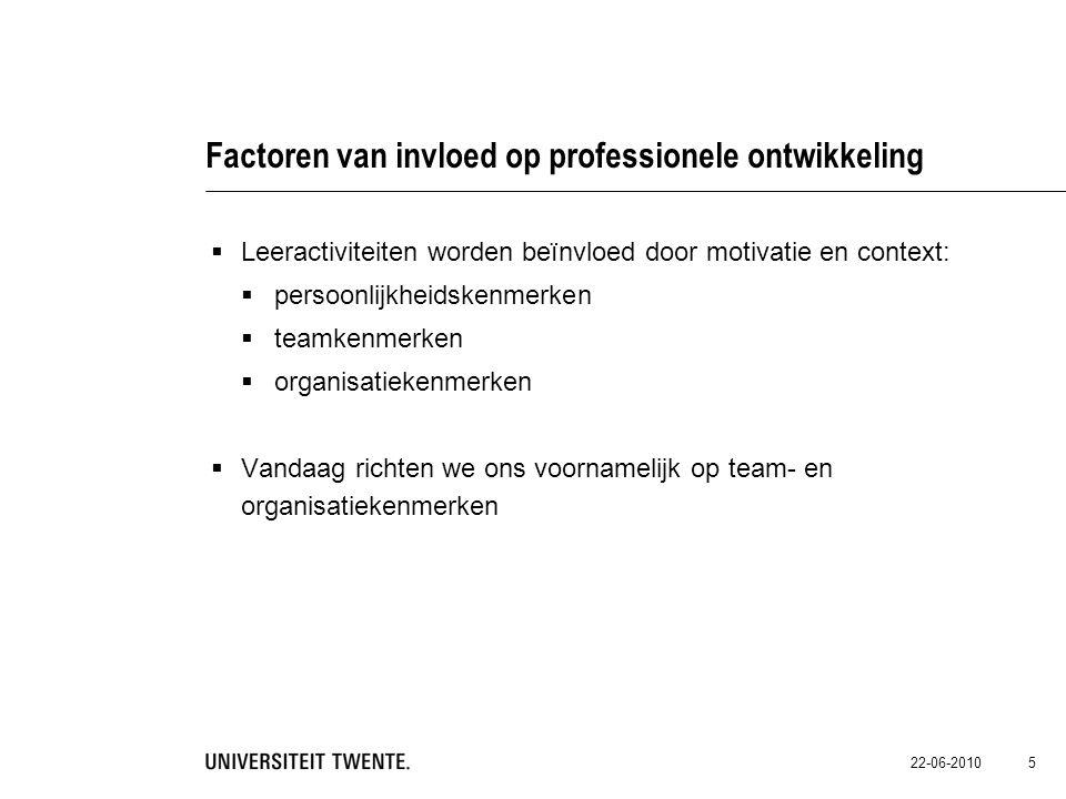 22-06-2010 5 Factoren van invloed op professionele ontwikkeling  Leeractiviteiten worden beïnvloed door motivatie en context:  persoonlijkheidskenme