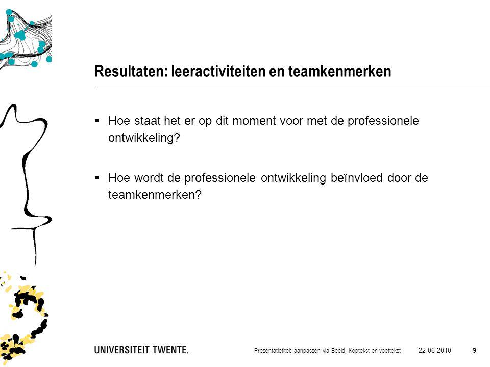 22-06-2010 9 Presentatietitel: aanpassen via Beeld, Koptekst en voettekst 9 Resultaten: leeractiviteiten en teamkenmerken  Hoe staat het er op dit mo