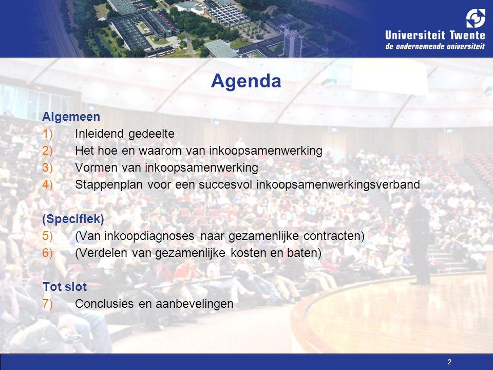 2 Agenda Algemeen 1)Inleidend gedeelte 2)Het hoe en waarom van inkoopsamenwerking 3)Vormen van inkoopsamenwerking 4)Stappenplan voor een succesvol ink