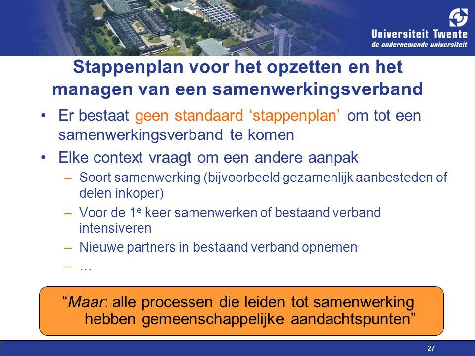 27 Stappenplan voor het opzetten en het managen van een samenwerkingsverband Er bestaat geen standaard 'stappenplan' om tot een samenwerkingsverband t