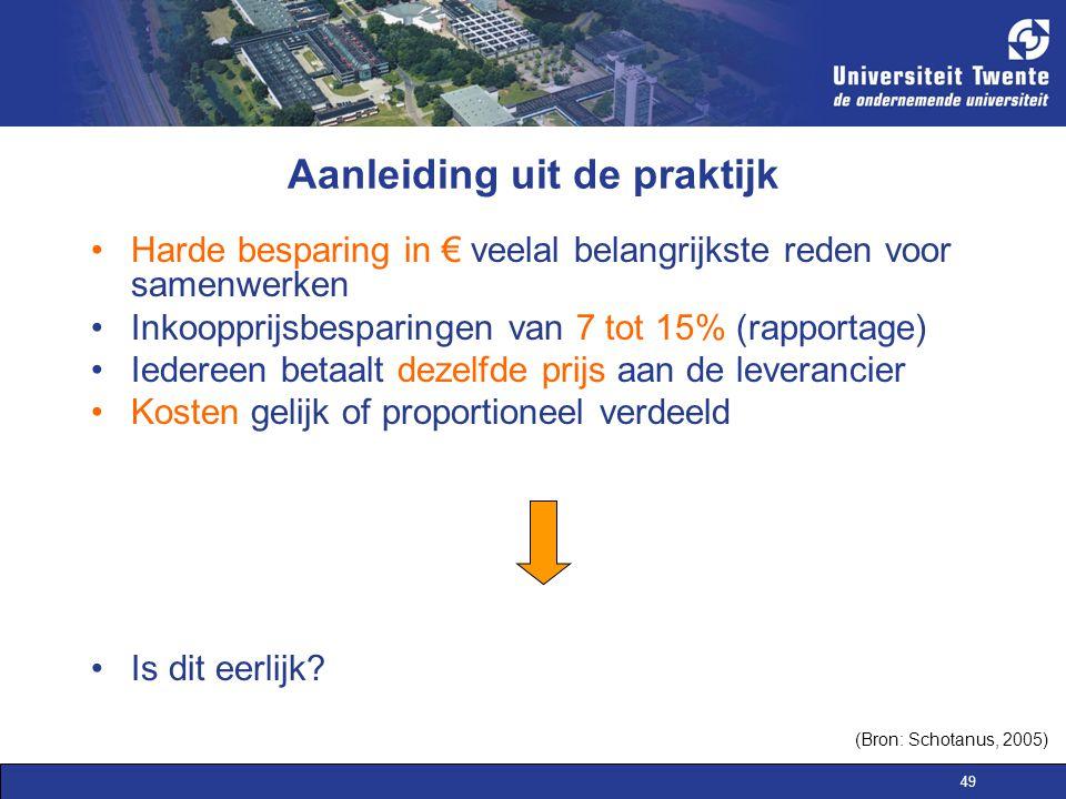 49 Aanleiding uit de praktijk Harde besparing in € veelal belangrijkste reden voor samenwerken Inkoopprijsbesparingen van 7 tot 15% (rapportage) Ieder