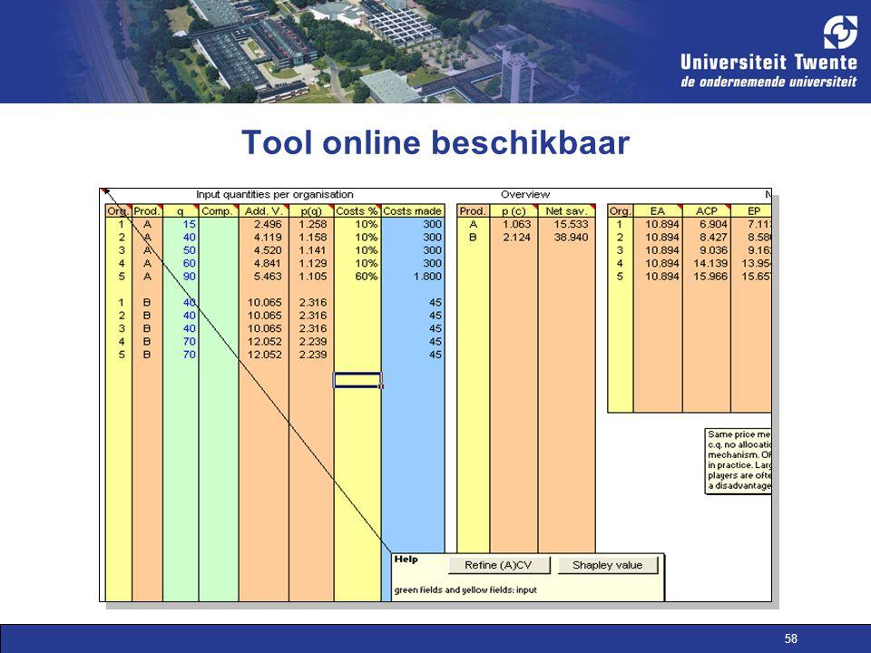 58 Tool online beschikbaar