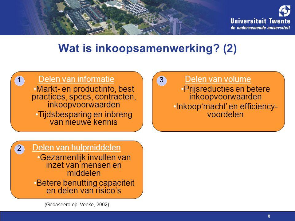 8 Wat is inkoopsamenwerking? (2) Delen van informatie Markt- en productinfo, best practices, specs, contracten, inkoopvoorwaarden Tijdsbesparing en in