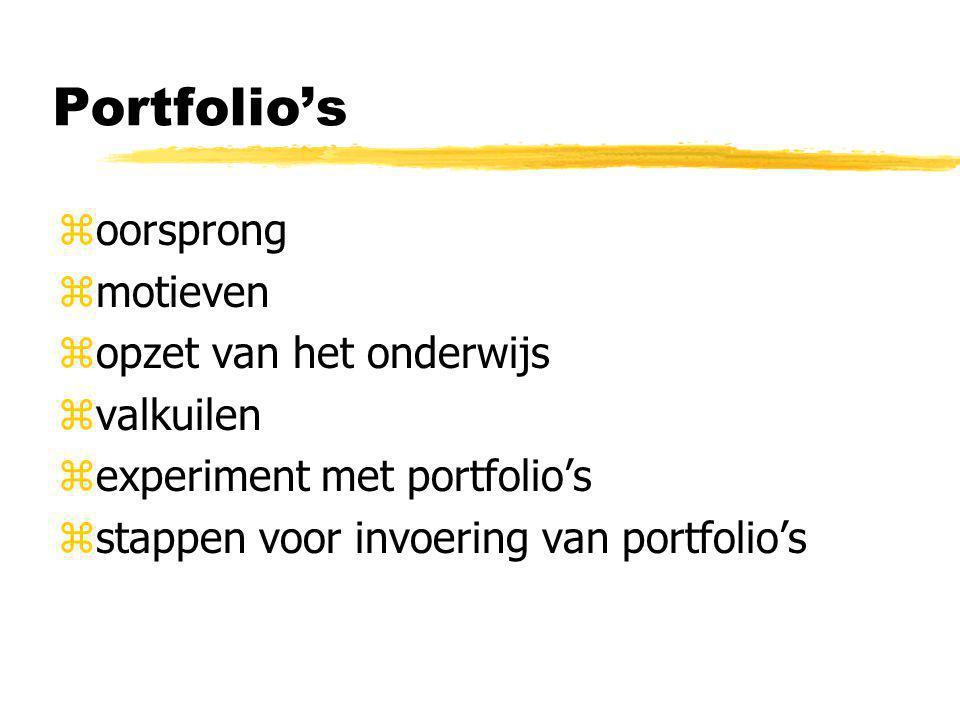 Portfolio's zoorsprong zmotieven zopzet van het onderwijs zvalkuilen zexperiment met portfolio's zstappen voor invoering van portfolio's