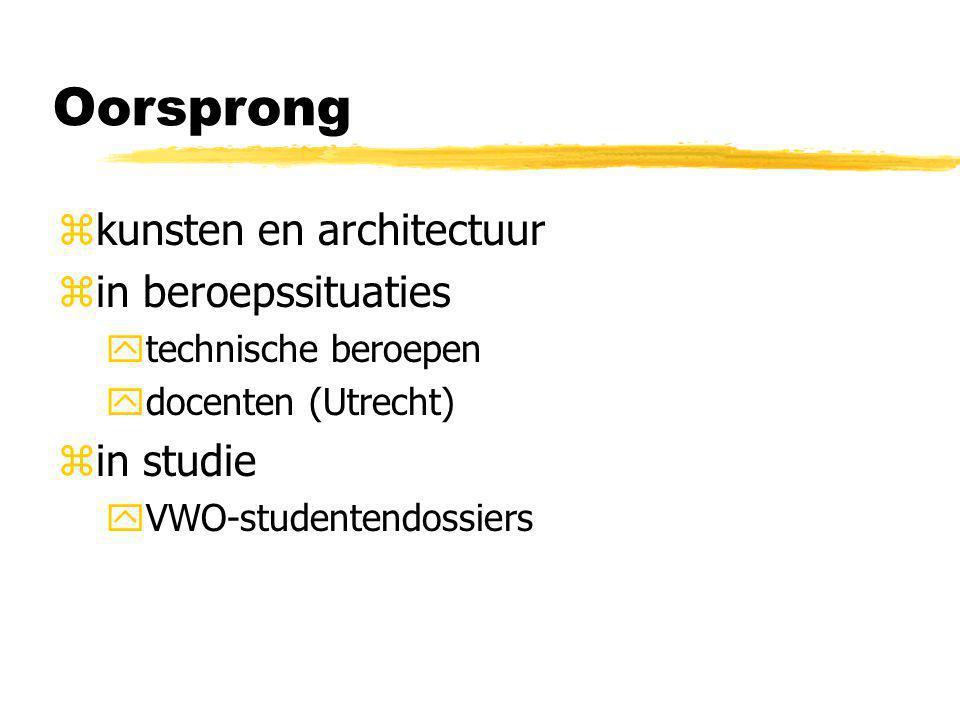 Oorsprong zkunsten en architectuur zin beroepssituaties ytechnische beroepen ydocenten (Utrecht) zin studie yVWO-studentendossiers
