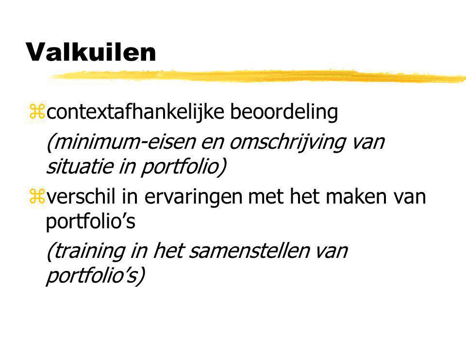 Valkuilen zcontextafhankelijke beoordeling (minimum-eisen en omschrijving van situatie in portfolio) zverschil in ervaringen met het maken van portfolio's (training in het samenstellen van portfolio's)