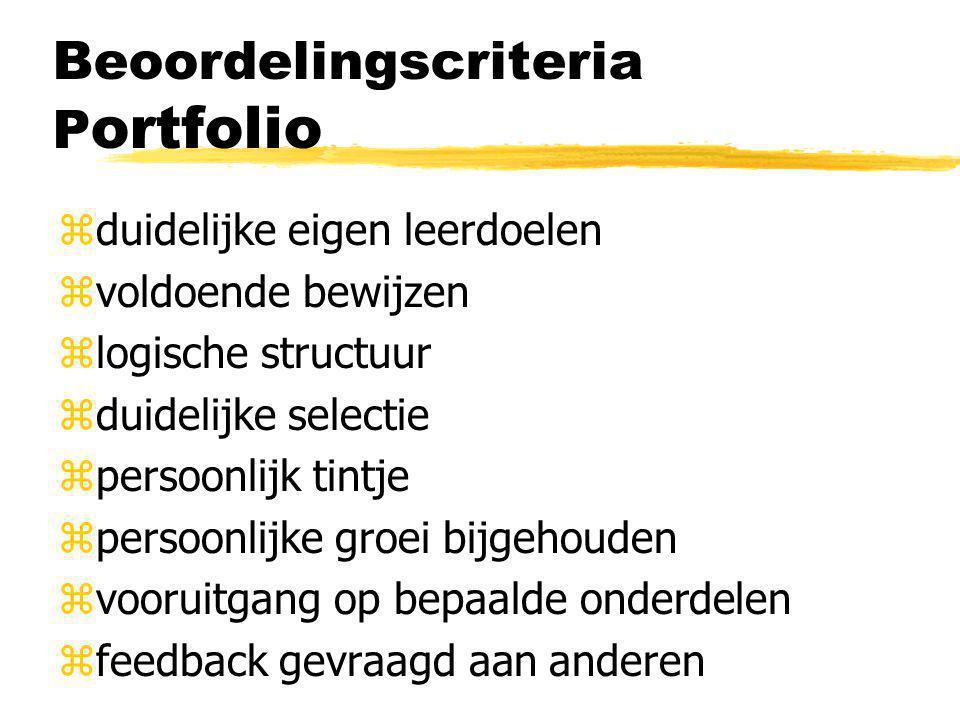 Beoordelingscriteria P ortfolio zduidelijke eigen leerdoelen zvoldoende bewijzen zlogische structuur zduidelijke selectie zpersoonlijk tintje zpersoon