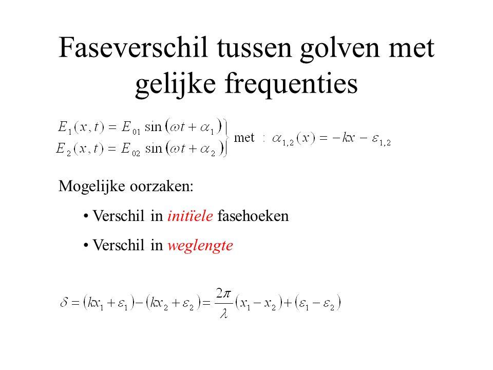 Faseverschil tussen golven met gelijke frequenties Mogelijke oorzaken: Verschil in initïele fasehoeken Verschil in weglengte
