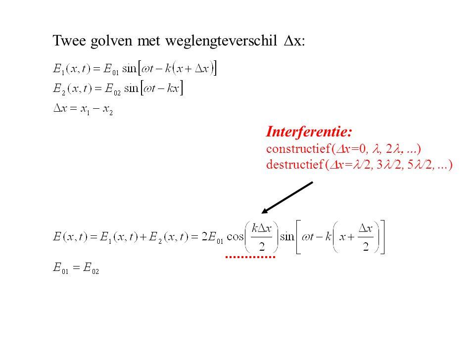 Interferentie: constructief (  x=0,, 2  ) destructief (  x= /2, 3 /2, 5 /2,...) Twee golven met weglengteverschil  x: