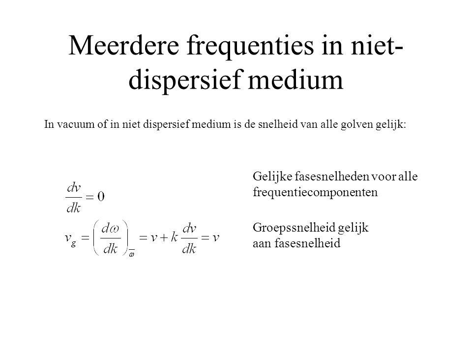 Meerdere frequenties in niet- dispersief medium In vacuum of in niet dispersief medium is de snelheid van alle golven gelijk: Groepssnelheid gelijk aan fasesnelheid Gelijke fasesnelheden voor alle frequentiecomponenten
