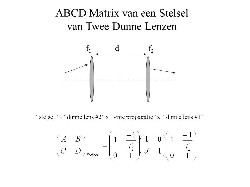 "ABCD Matrix van een Stelsel van Twee Dunne Lenzen ""stelsel"" = ""dunne lens #2"" x ""vrije propagatie"" x ""dunne lens #1"" f2f2 f1f1 d"