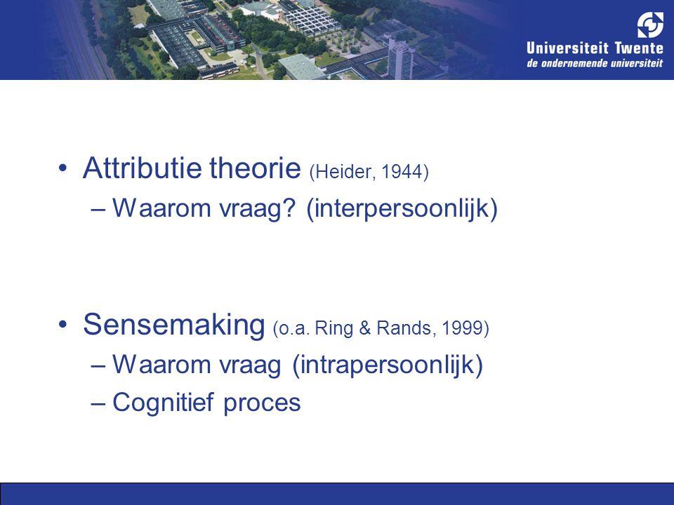 Attributie theorie (Heider, 1944) –Waarom vraag. (interpersoonlijk) Sensemaking (o.a.