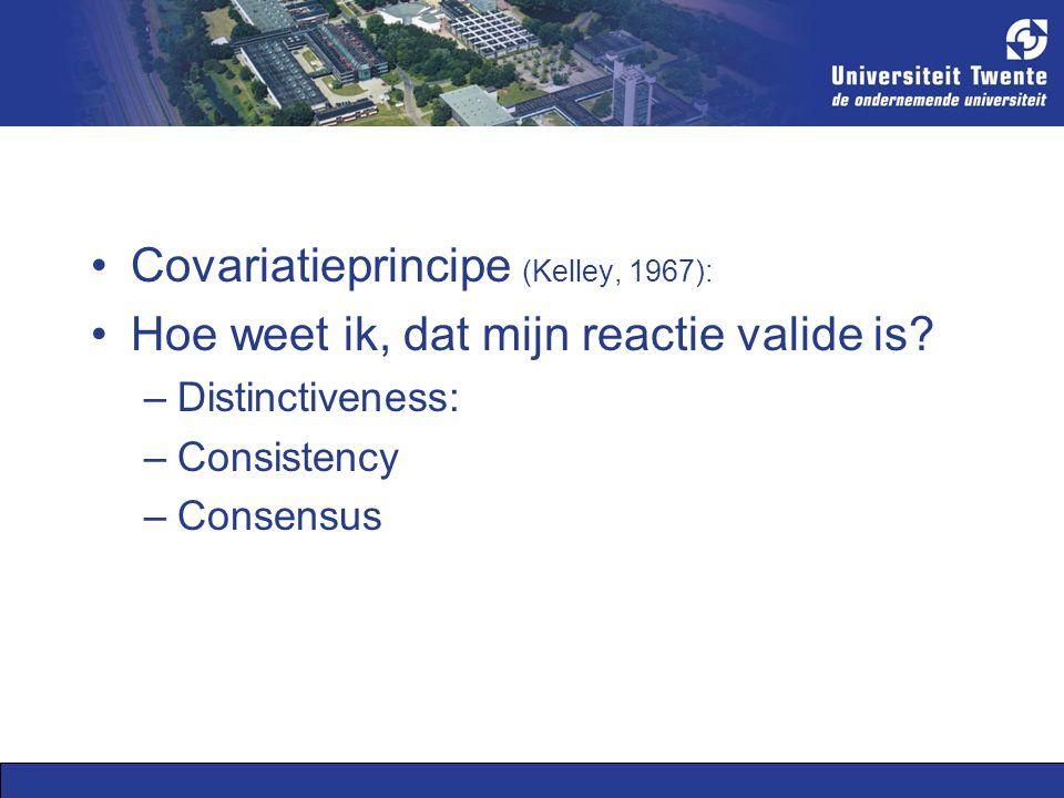 Covariatieprincipe (Kelley, 1967): Hoe weet ik, dat mijn reactie valide is.