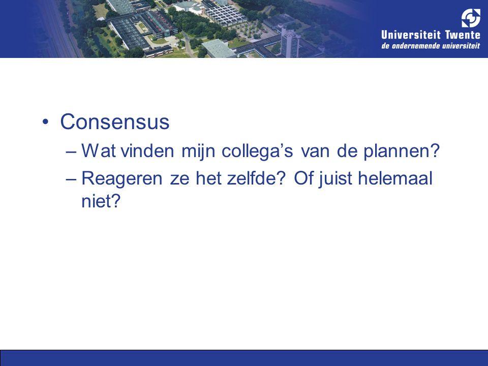 Consensus –Wat vinden mijn collega's van de plannen.