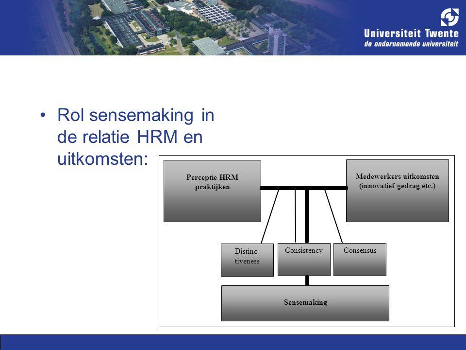 Rol sensemaking in de relatie HRM en uitkomsten: Perceptie HRM praktijken Medewerkers uitkomsten (innovatief gedrag etc.) Sensemaking Distinc- tiveness ConsistencyConsensus