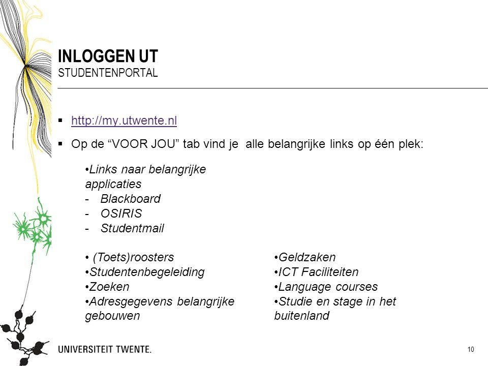 """ http://my.utwente.nl http://my.utwente.nl INLOGGEN UT STUDENTENPORTAL 10  Op de """"VOOR JOU"""" tab vind je alle belangrijke links op één plek: Links na"""