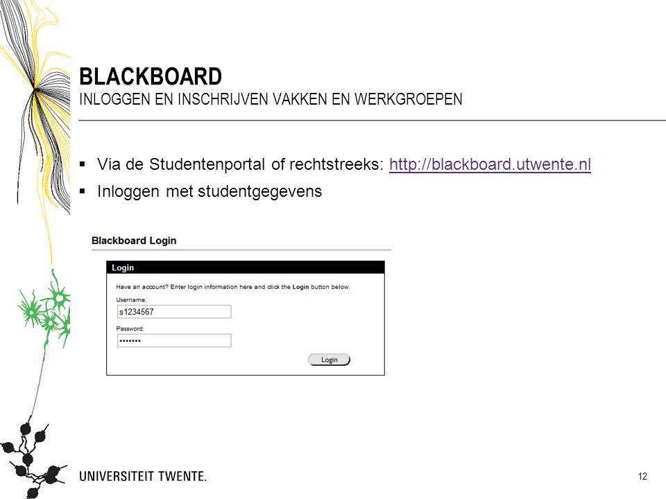  Via de Studentenportal of rechtstreeks: http://blackboard.utwente.nlhttp://blackboard.utwente.nl  Inloggen met studentgegevens BLACKBOARD INLOGGEN