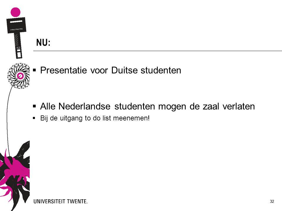 32 NU:  Presentatie voor Duitse studenten  Alle Nederlandse studenten mogen de zaal verlaten  Bij de uitgang to do list meenemen! 32