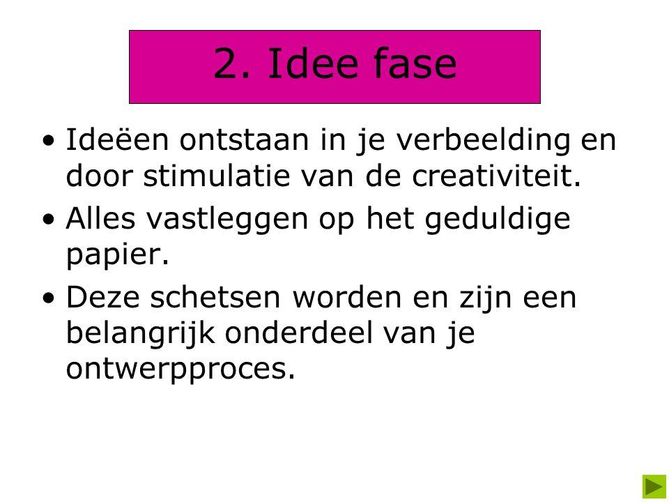 2. Idee fase Ideëen ontstaan in je verbeelding en door stimulatie van de creativiteit. Alles vastleggen op het geduldige papier. Deze schetsen worden