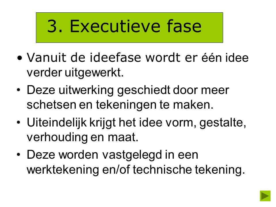 3. Executieve fase Vanuit de ideefase wordt er één idee verder uitgewerkt. Deze uitwerking geschiedt door meer schetsen en tekeningen te maken. Uitein