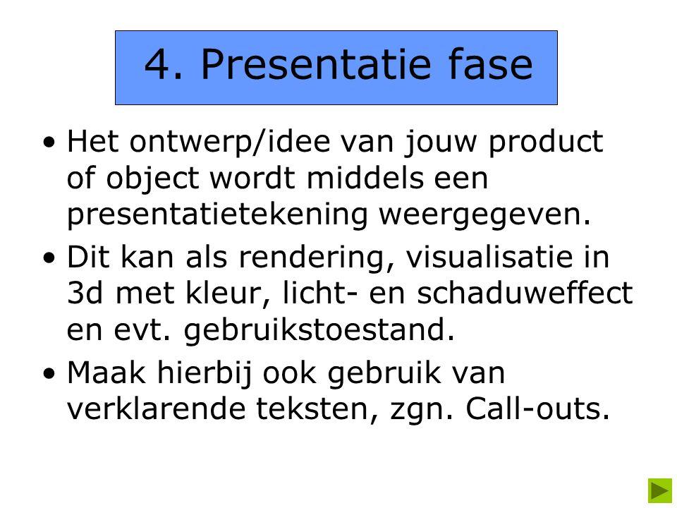 4. Presentatie fase Het ontwerp/idee van jouw product of object wordt middels een presentatietekening weergegeven. Dit kan als rendering, visualisatie