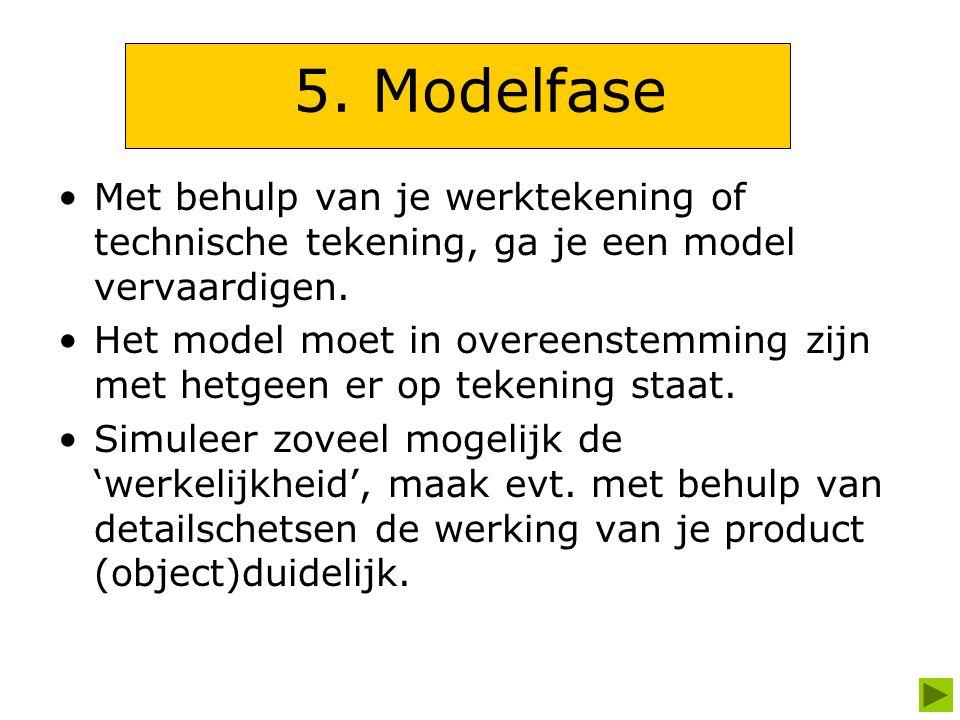 5. Modelfase Met behulp van je werktekening of technische tekening, ga je een model vervaardigen. Het model moet in overeenstemming zijn met hetgeen e