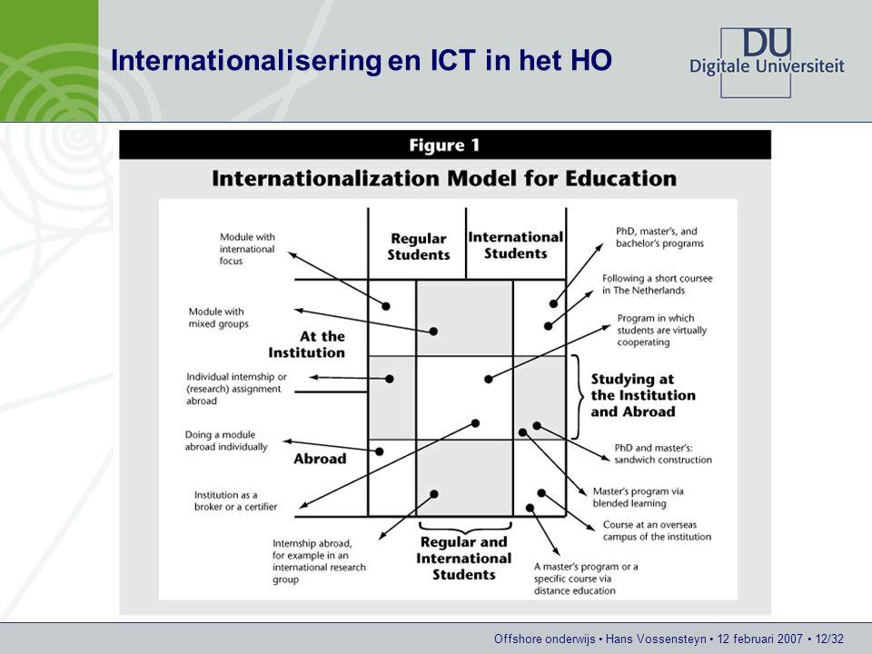 Offshore onderwijs Hans Vossensteyn 12 februari 2007 12/32 Internationalisering en ICT in het HO
