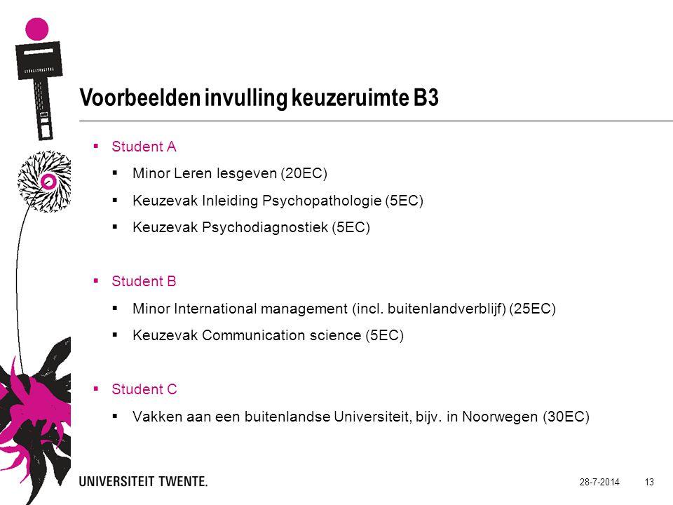 28-7-2014 13 Voorbeelden invulling keuzeruimte B3  Student A  Minor Leren lesgeven (20EC)  Keuzevak Inleiding Psychopathologie (5EC)  Keuzevak Psychodiagnostiek (5EC)  Student B  Minor International management (incl.